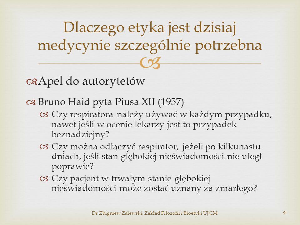 Apel do autorytetów Bruno Haid pyta Piusa XII (1957) Czy respiratora należy używać w każdym przypadku, nawet jeśli w ocenie lekarzy jest to przypadek