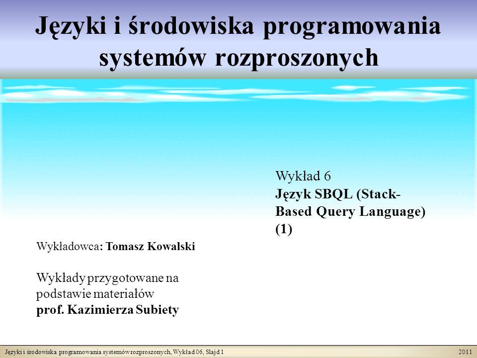 Języki i środowiska programowania systemów rozproszonych, Wykład 06, Slajd 12 2011 Operatory działające na stosie QRES Stos QRES jest abstrakcyjną strukturą danych obsługiwaną przez cztery operatory: push (włóż nowy element na wierzchołek stosu), pop (zdejmij jeden element z wierzchołka stosu), top (odczytaj wierzchołek stosu), empty (sprawdź czy stos jest pusty).