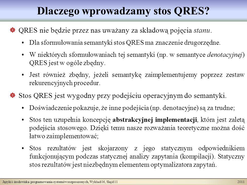 Języki i środowiska programowania systemów rozproszonych, Wykład 06, Slajd 11 2011 Dlaczego wprowadzamy stos QRES.