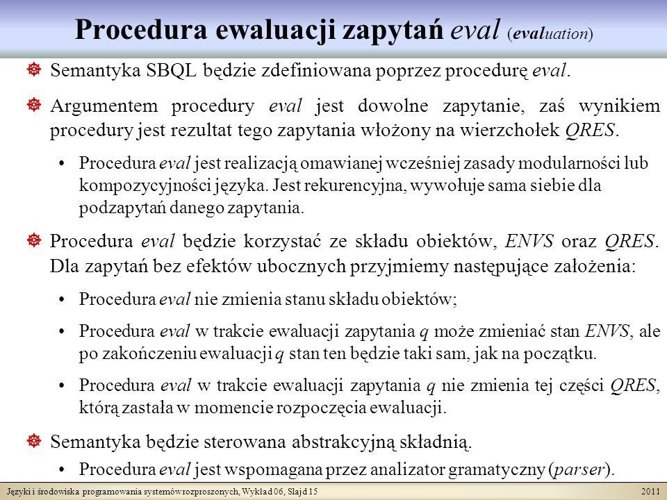 Języki i środowiska programowania systemów rozproszonych, Wykład 06, Slajd 15 2011 Procedura ewaluacji zapytań eval ( eval uation) Semantyka SBQL będzie zdefiniowana poprzez procedurę eval.
