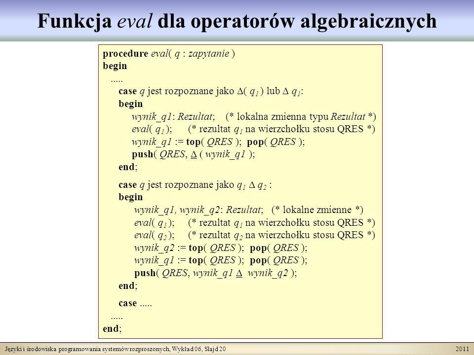 Języki i środowiska programowania systemów rozproszonych, Wykład 06, Slajd 20 2011 Funkcja eval dla operatorów algebraicznych procedure eval( q : zapytanie ) begin.....