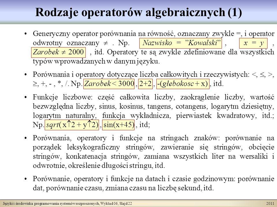 Języki i środowiska programowania systemów rozproszonych, Wykład 06, Slajd 22 2011 Rodzaje operatorów algebraicznych (1) Generyczny operator porównania na równość, oznaczany zwykle =, i operator odwrotny oznaczany.