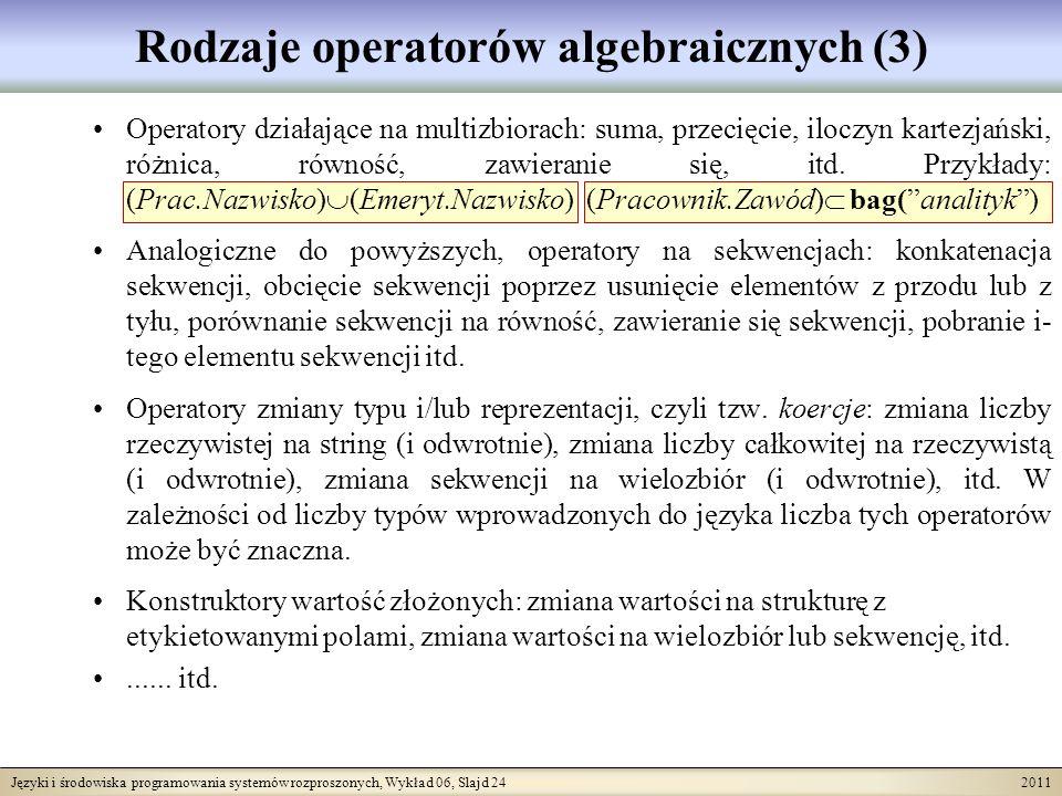 Języki i środowiska programowania systemów rozproszonych, Wykład 06, Slajd 24 2011 Rodzaje operatorów algebraicznych (3) Operatory działające na multizbiorach: suma, przecięcie, iloczyn kartezjański, różnica, równość, zawieranie się, itd.