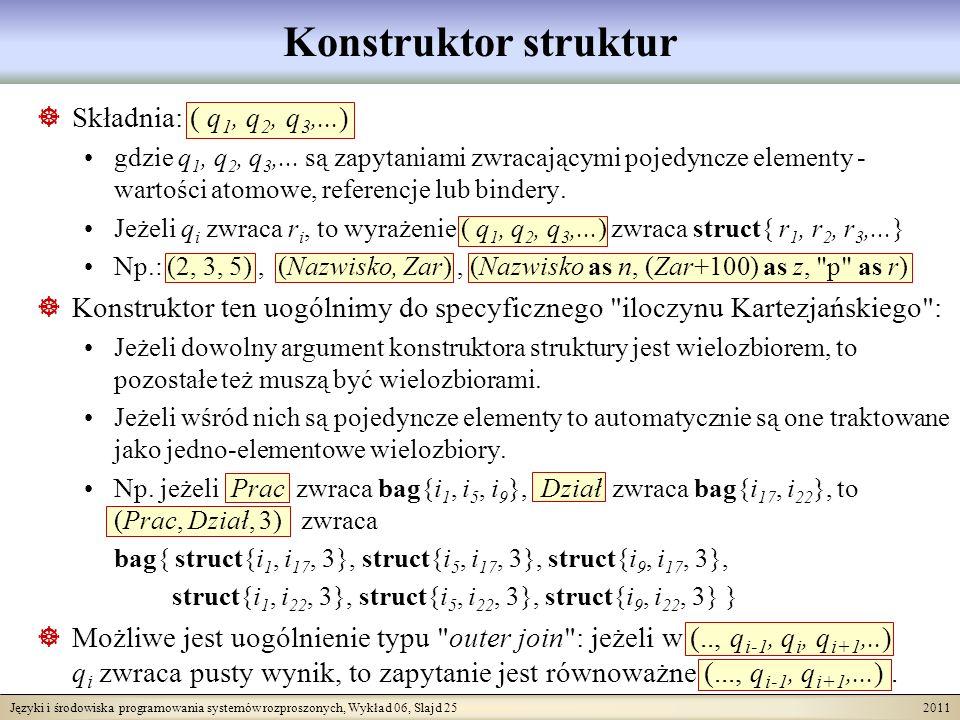 Języki i środowiska programowania systemów rozproszonych, Wykład 06, Slajd 25 2011 Konstruktor struktur Składnia: ( q 1, q 2, q 3,...) gdzie q 1, q 2, q 3,...