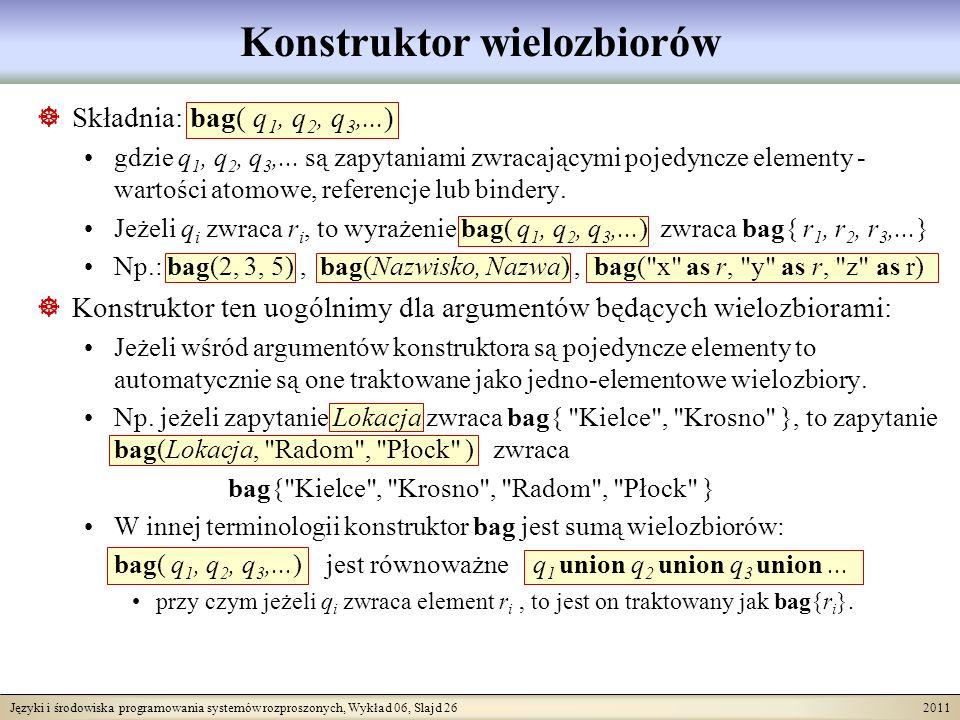 Języki i środowiska programowania systemów rozproszonych, Wykład 06, Slajd 26 2011 Konstruktor wielozbiorów Składnia: bag( q 1, q 2, q 3,...) gdzie q 1, q 2, q 3,...