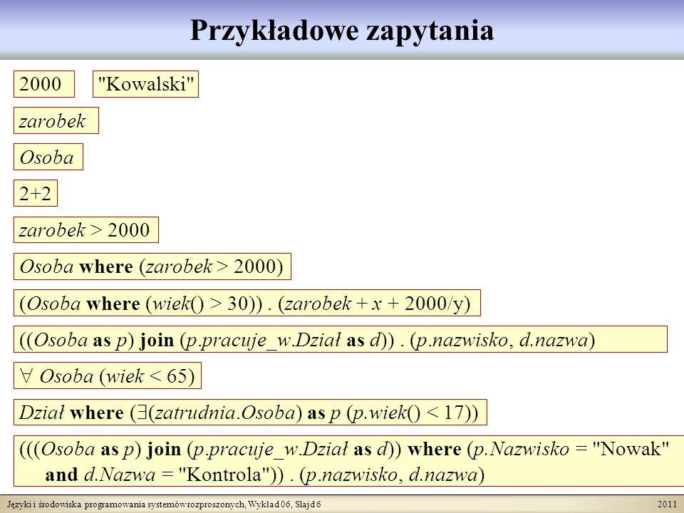 Języki i środowiska programowania systemów rozproszonych, Wykład 06, Slajd 7 2011 Podsumowanie składni SBQL zapytanie ::= L zapytanie ::= N zapytanie ::= operUna zapytanie zapytanie ::= operUna ( zapytanie ) zapytanie ::= zapytanie operBin zapytanie zapytanie ::= zapytanie operNieAlg zapytanie operNieAlg ::= where  .  join     zapytanie ::= zapytanie ( zapytanie ) zapytanie ::= zapytanie as N zapytanie ::= zapytanie group as N zapytanie ::= ( zapytanie ) zapytanie ::= N ( ) zapytanie ::= N ( parametr {; parametr} ) parametr ::= zapytanie L V jest zbiorem literali N jest zbiorem nazw operUna jest operatorem algebraicznym unarnym operBin jest operatorem algebraicznym binarnym operNieAlg jest operatorem nie-algebraicznym Możliwe są dalsze operatory nie-algebraiczne Meta-nawiasy {} oznaczają iterację od 0 Plus ograniczenia typologiczne: np.