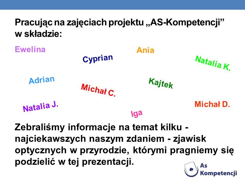 Pracując na zajęciach projektu AS-Kompetencji w składzie: Ewelina Cyprian Kajtek Iga Natalia K. Natalia J. A d r i a n Michał D. Michał C. Ania Zebral