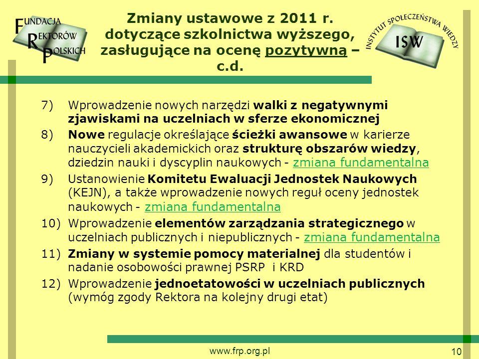 10 Zmiany ustawowe z 2011 r. dotyczące szkolnictwa wyższego, zasługujące na ocenę pozytywną – c.d.