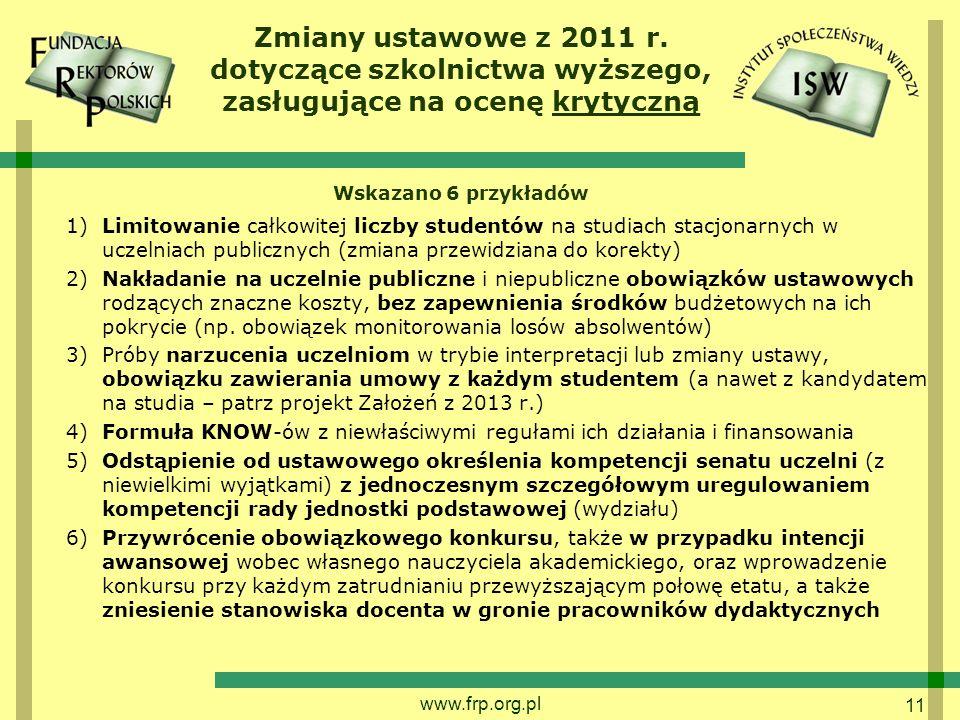 11 Zmiany ustawowe z 2011 r.