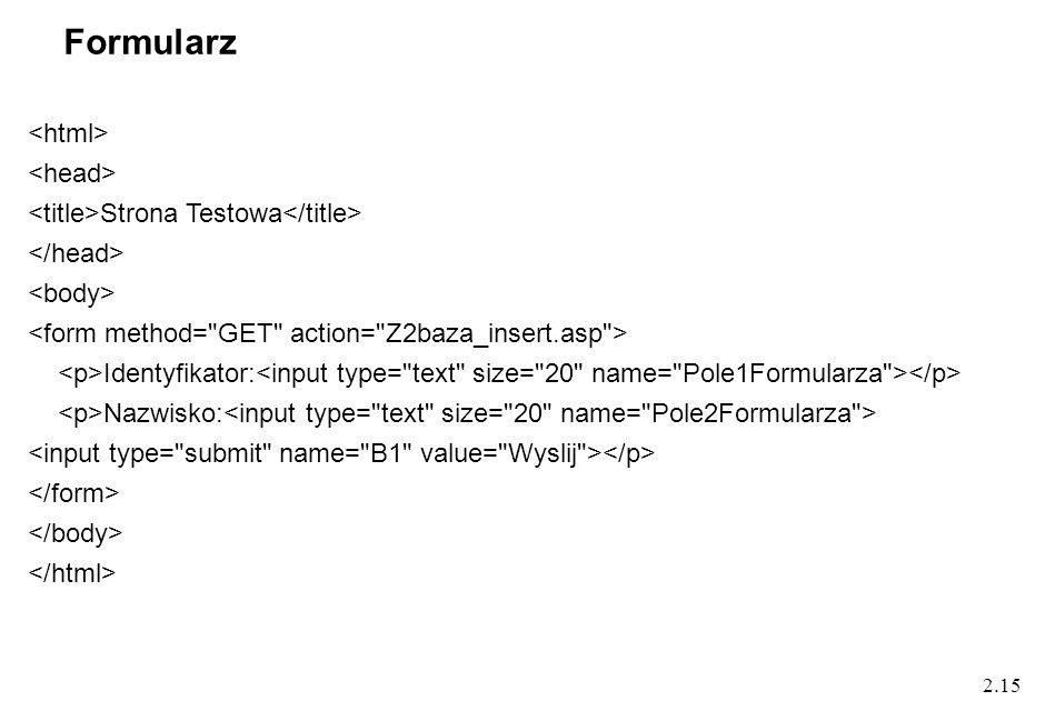 2.15 Strona Testowa Identyfikator: Nazwisko: Formularz