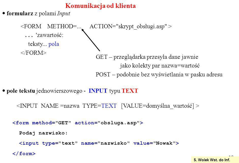 18 S.Wolek Wst. do Inf. Komunikacja od klienta formularz z polami Input...