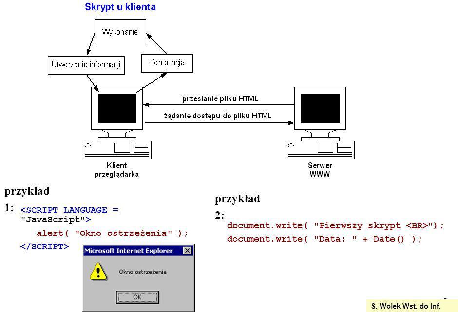 16 S.Wolek Wst. do Inf. podprogramy: procedury i funkcje sub nazwa( parametry )...
