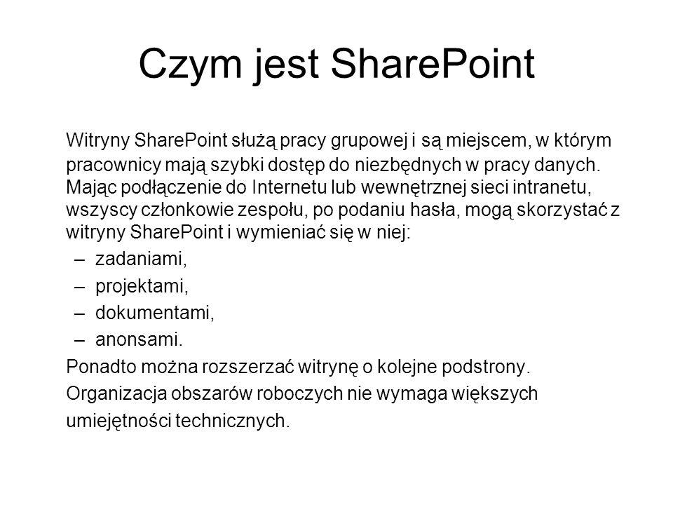 Czym jest SharePoint Witryny SharePoint służą pracy grupowej i są miejscem, w którym pracownicy mają szybki dostęp do niezbędnych w pracy danych. Mają