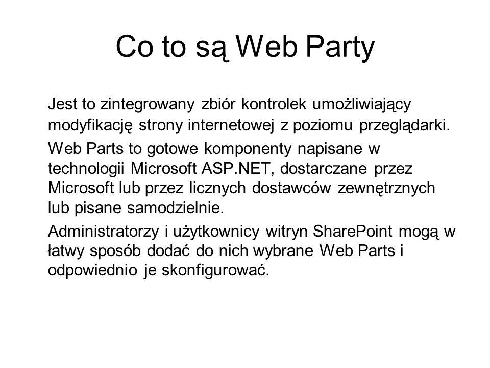 Co to są Web Party Jest to zintegrowany zbiór kontrolek umożliwiający modyfikację strony internetowej z poziomu przeglądarki. Web Parts to gotowe komp