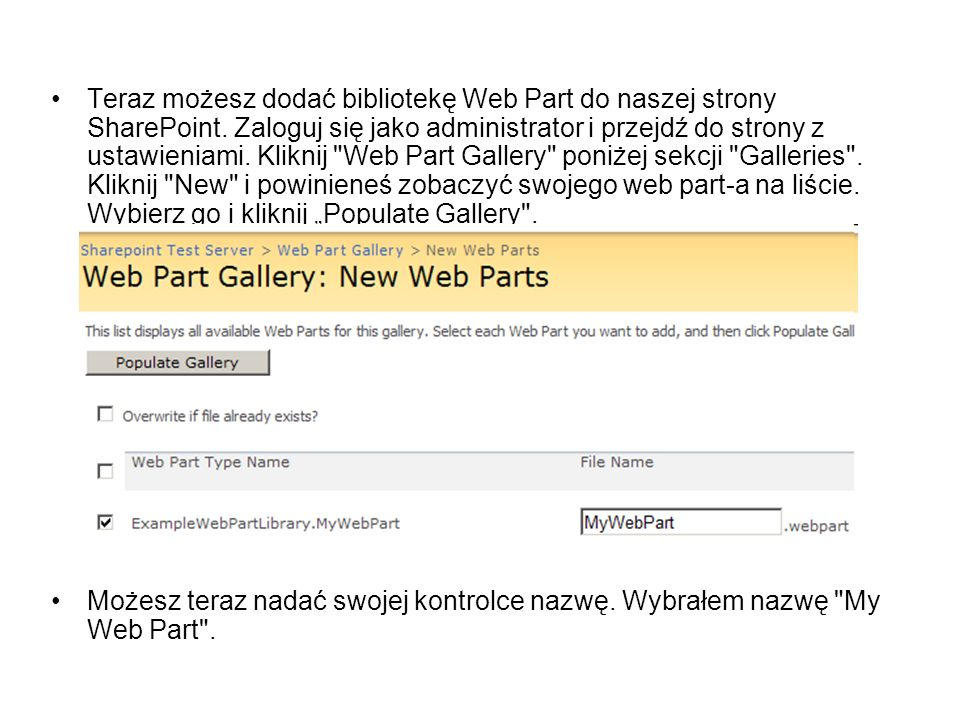 Teraz możesz dodać bibliotekę Web Part do naszej strony SharePoint. Zaloguj się jako administrator i przejdź do strony z ustawieniami. Kliknij