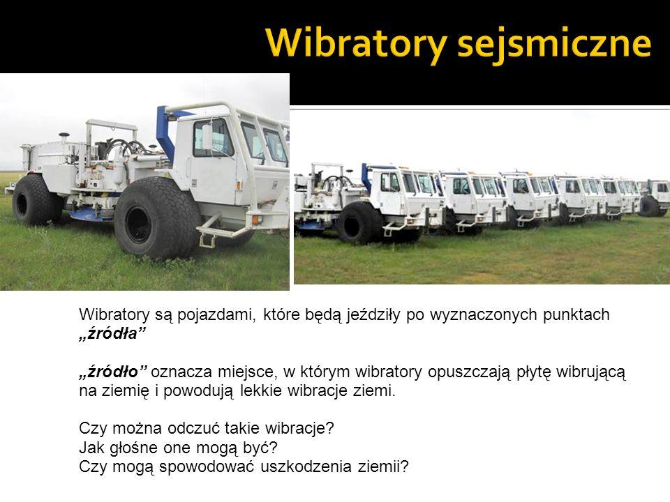 Wibratory są pojazdami, które będą jeździły po wyznaczonych punktachźródła źródło oznacza miejsce, w którym wibratory opuszczają płytę wibrującą na ziemię i powodują lekkie wibracje ziemi.