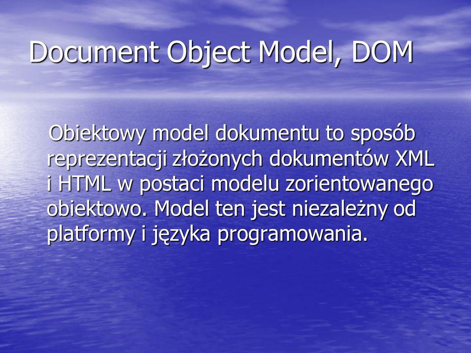 Document Object Model, DOM Obiektowy model dokumentu to sposób reprezentacji złożonych dokumentów XML i HTML w postaci modelu zorientowanego obiektowo