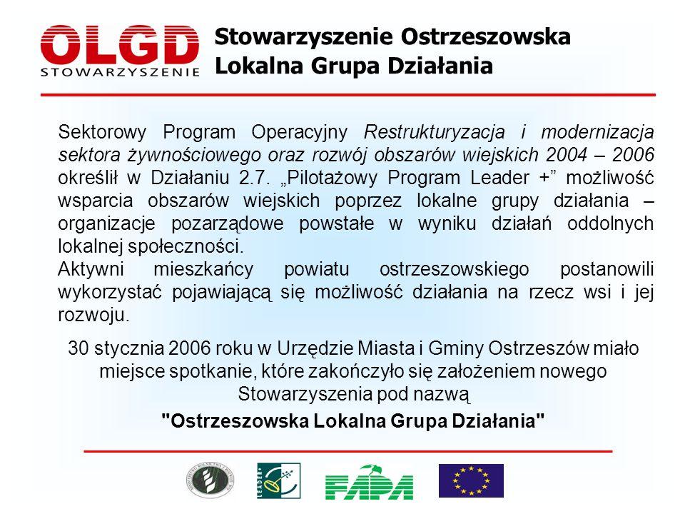 Stowarzyszenie Ostrzeszowska Lokalna Grupa Działania Sektorowy Program Operacyjny Restrukturyzacja i modernizacja sektora żywnościowego oraz rozwój obszarów wiejskich 2004 – 2006 określił w Działaniu 2.7.