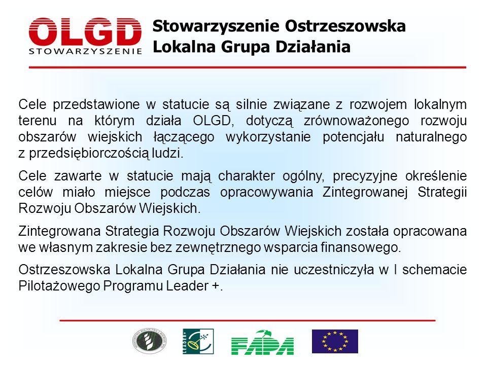Stowarzyszenie Ostrzeszowska Lokalna Grupa Działania Cele przedstawione w statucie są silnie związane z rozwojem lokalnym terenu na którym działa OLGD, dotyczą zrównoważonego rozwoju obszarów wiejskich łączącego wykorzystanie potencjału naturalnego z przedsiębiorczością ludzi.