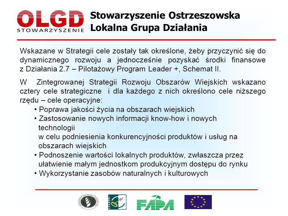 Stowarzyszenie Ostrzeszowska Lokalna Grupa Działania Wskazane w Strategii cele zostały tak określone, żeby przyczynić się do dynamicznego rozwoju a jednocześnie pozyskać środki finansowe z Działania 2.7 – Pilotażowy Program Leader +, Schemat II.