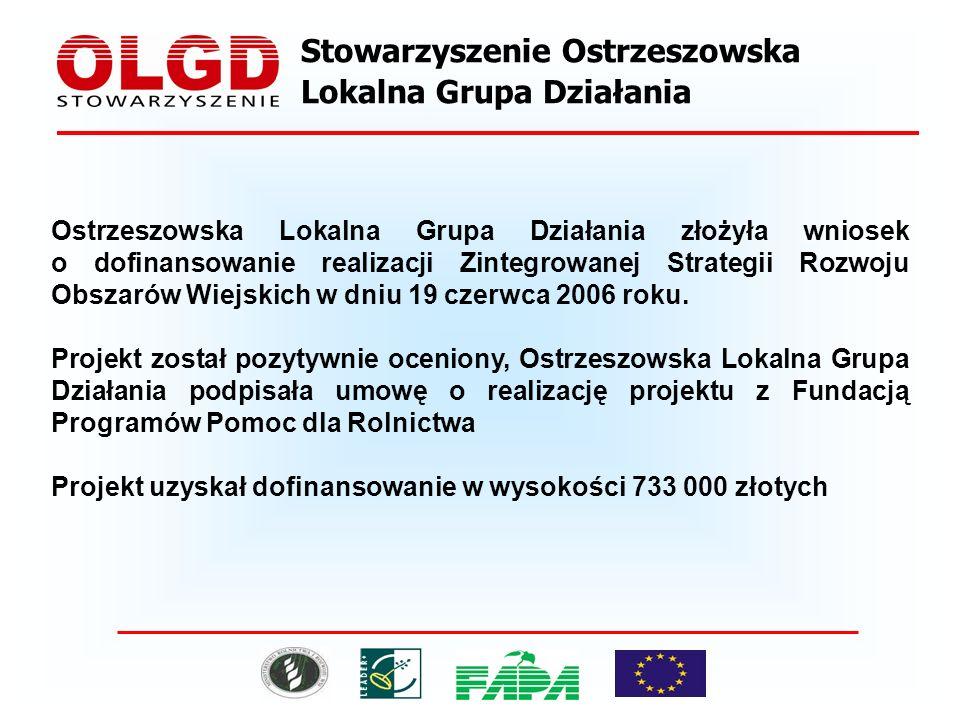 Stowarzyszenie Ostrzeszowska Lokalna Grupa Działania Ostrzeszowska Lokalna Grupa Działania złożyła wniosek o dofinansowanie realizacji Zintegrowanej Strategii Rozwoju Obszarów Wiejskich w dniu 19 czerwca 2006 roku.
