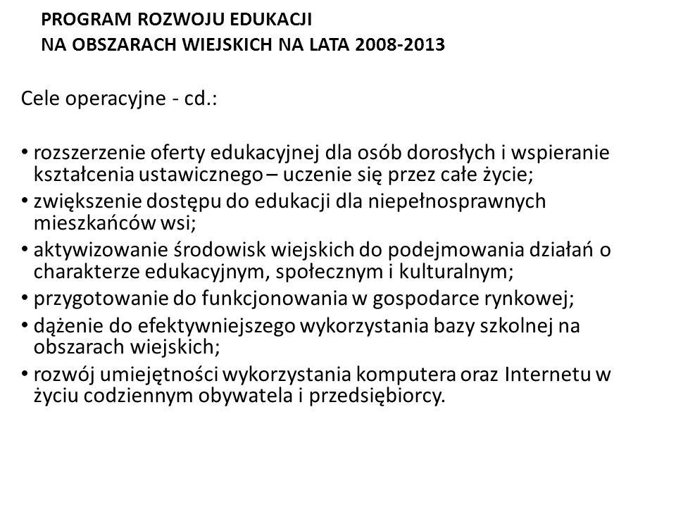 PROGRAM ROZWOJU EDUKACJI NA OBSZARACH WIEJSKICH NA LATA 2008-2013 Cel strategiczny: rozwój edukacji na wsi i obszarach wiejskich - podniesienie jakośc