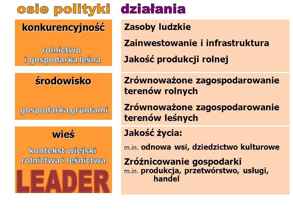 Rozwój wsi 2007-2013 Polityka rynkowa wsparcie dochodów Polityka rozwoju wsi dobra publiczne produkcja żywności funkcja środowiskowa funkcja wiejska Z