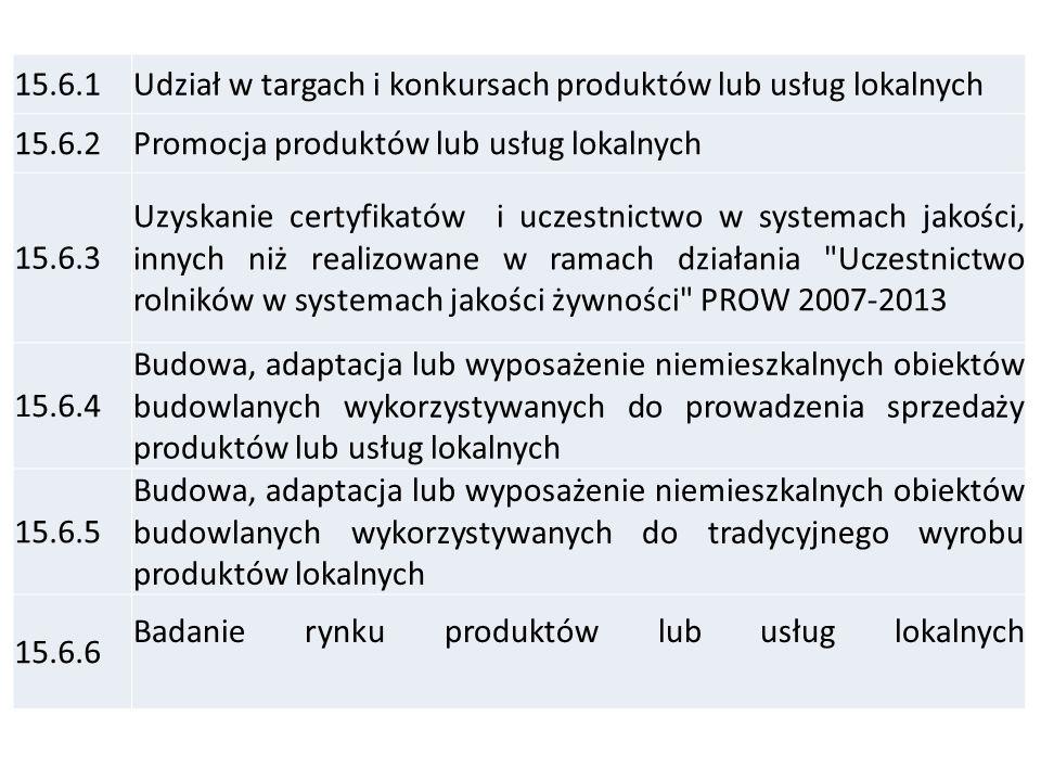15.6 Inicjowanie powstawania, przetwarzania lub wprowadzania na rynek produktów i usług, których podstawę stanowią lokalne zasoby, tradycyjne sektory