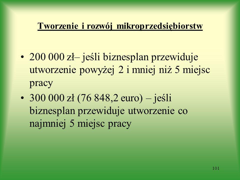 Tworzenie i rozwój mikroprzedsiębiorstw 200 000 zł– jeśli biznesplan przewiduje utworzenie powyżej 2 i mniej niż 5 miejsc pracy 300 000 zł (76 848,2 e
