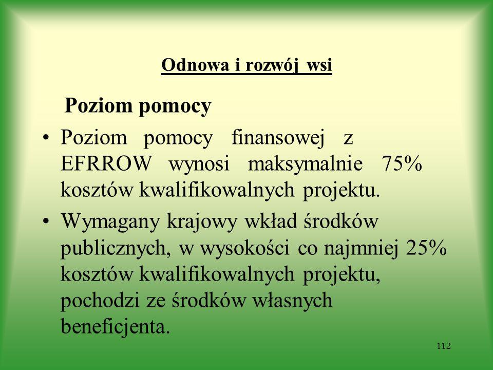 Odnowa i rozwój wsi Poziom pomocy Poziom pomocy finansowej z EFRROW wynosi maksymalnie 75% kosztów kwalifikowalnych projektu. Wymagany krajowy wkład ś