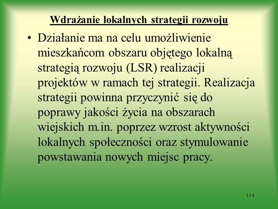 Wdrażanie lokalnych strategii rozwoju Działanie ma na celu umożliwienie mieszkańcom obszaru objętego lokalną strategią rozwoju (LSR) realizacji projek