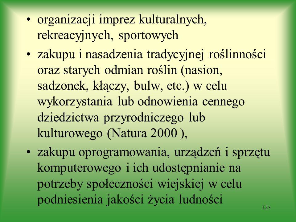 organizacji imprez kulturalnych, rekreacyjnych, sportowych zakupu i nasadzenia tradycyjnej roślinności oraz starych odmian roślin (nasion, sadzonek, k