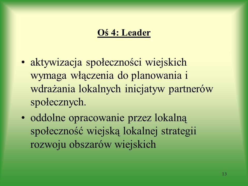 Oś 4: Leader aktywizacja społeczności wiejskich wymaga włączenia do planowania i wdrażania lokalnych inicjatyw partnerów społecznych. oddolne opracowa
