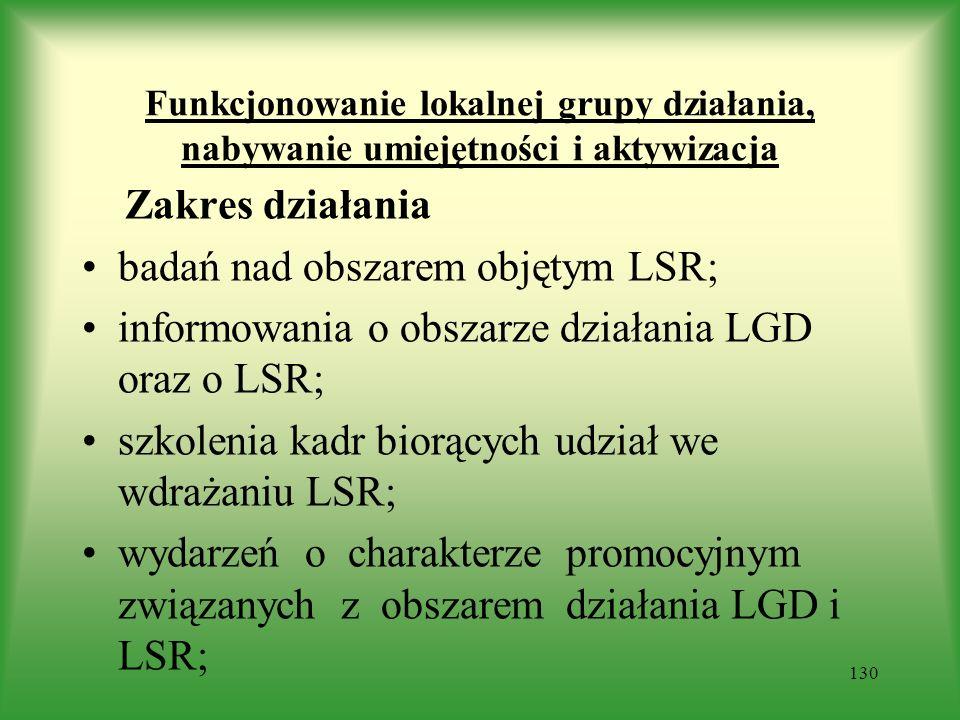 Funkcjonowanie lokalnej grupy działania, nabywanie umiejętności i aktywizacja Zakres działania badań nad obszarem objętym LSR; informowania o obszarze