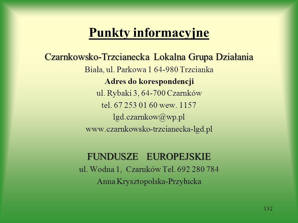 Punkty informacyjne Czarnkowsko-Trzcianecka Lokalna Grupa Działania Biała, ul. Parkowa 1 64-980 Trzcianka Adres do korespondencji ul. Rybaki 3, 64-700