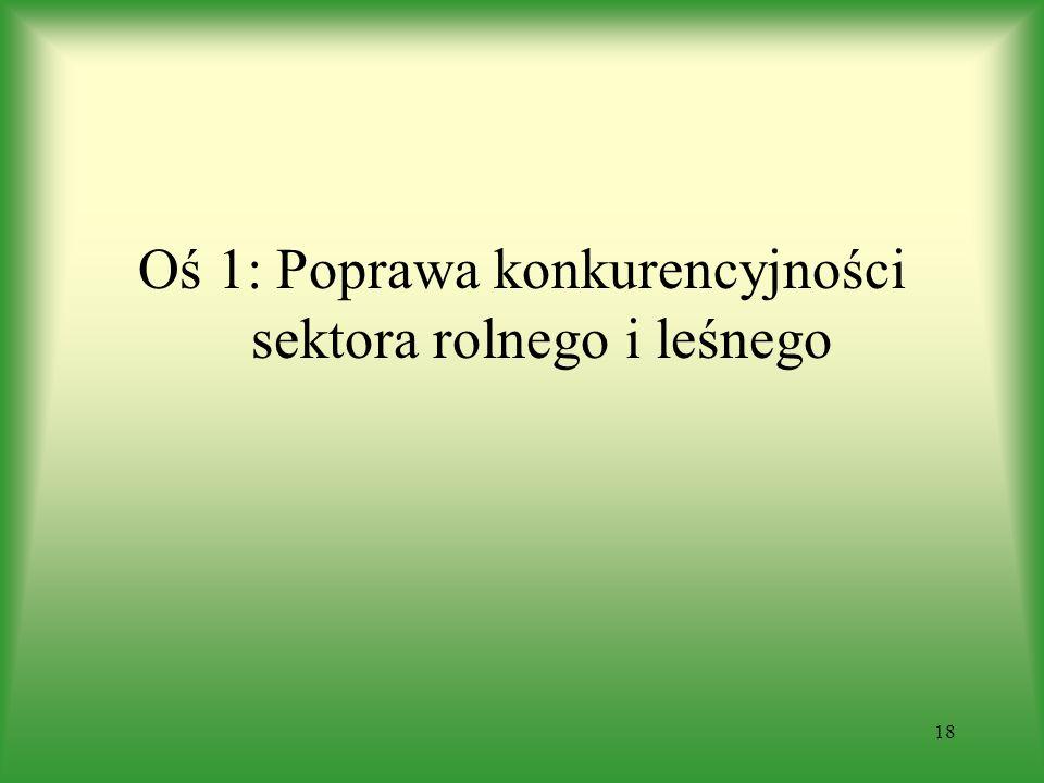 Oś 1: Poprawa konkurencyjności sektora rolnego i leśnego 18