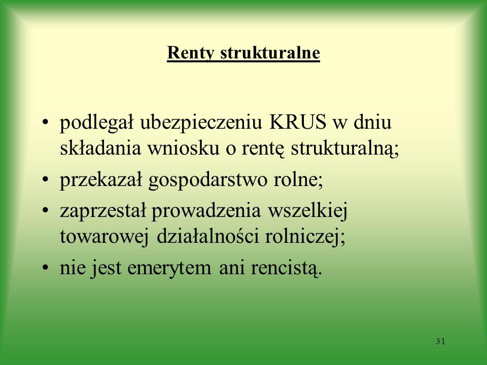 Renty strukturalne podlegał ubezpieczeniu KRUS w dniu składania wniosku o rentę strukturalną; przekazał gospodarstwo rolne; zaprzestał prowadzenia wsz