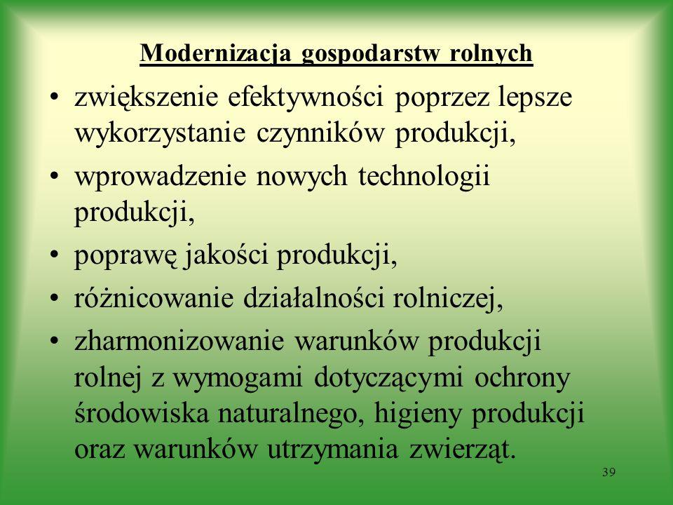 Modernizacja gospodarstw rolnych zwiększenie efektywności poprzez lepsze wykorzystanie czynników produkcji, wprowadzenie nowych technologii produkcji,