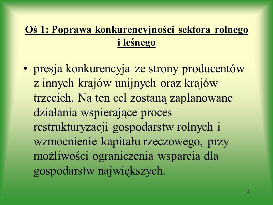 Oś 1: Poprawa konkurencyjności sektora rolnego i leśnego wsparcie w zakresie jakości produkcji, polepszania infrastruktury wsi tworzenia grup zrzeszających producentów rolnych.