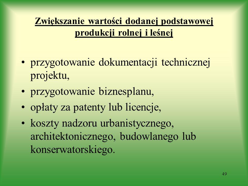 Zwiększanie wartości dodanej podstawowej produkcji rolnej i leśnej przygotowanie dokumentacji technicznej projektu, przygotowanie biznesplanu, opłaty