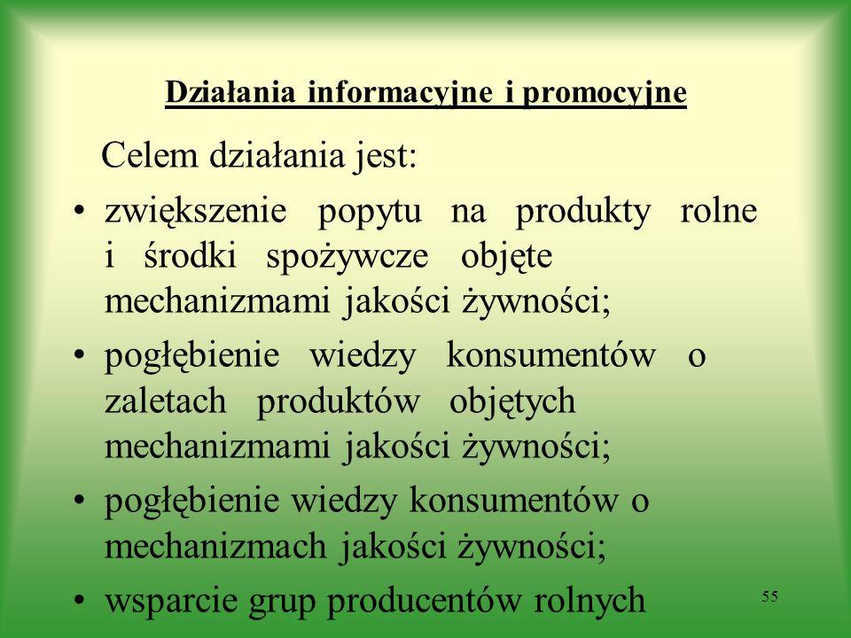 Działania informacyjne i promocyjne Celem działania jest: zwiększenie popytu na produkty rolne i środki spożywcze objęte mechanizmami jakości żywności