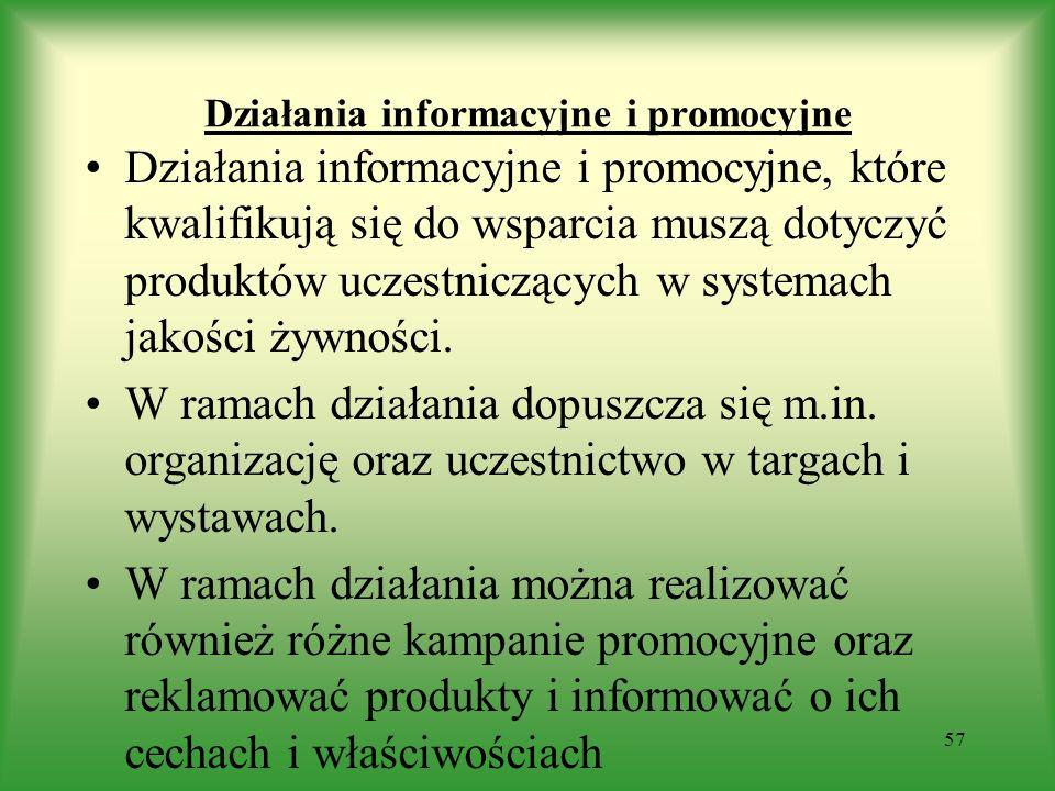 Działania informacyjne i promocyjne Działania informacyjne i promocyjne, które kwalifikują się do wsparcia muszą dotyczyć produktów uczestniczących w