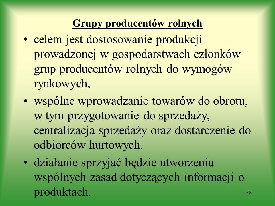 Grupy producentów rolnych celem jest dostosowanie produkcji prowadzonej w gospodarstwach członków grup producentów rolnych do wymogów rynkowych, wspól