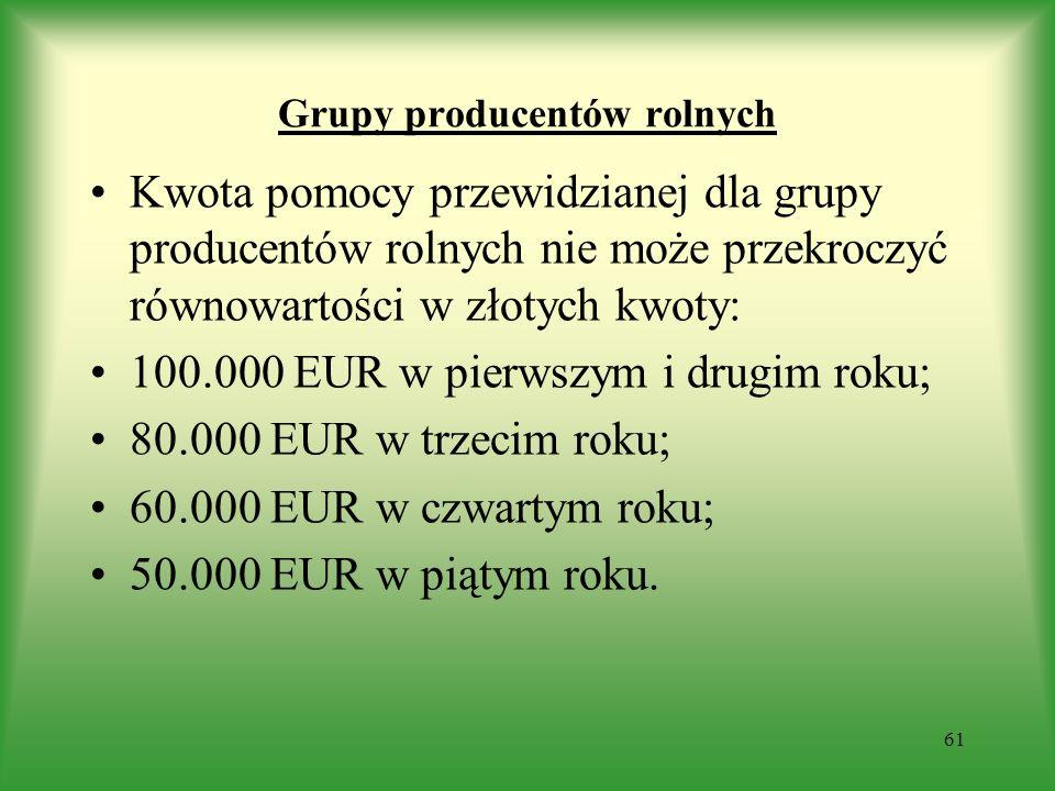 Grupy producentów rolnych Kwota pomocy przewidzianej dla grupy producentów rolnych nie może przekroczyć równowartości w złotych kwoty: 100.000 EUR w p