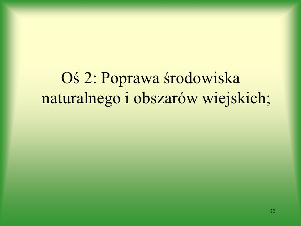 Oś 2: Poprawa środowiska naturalnego i obszarów wiejskich; 62
