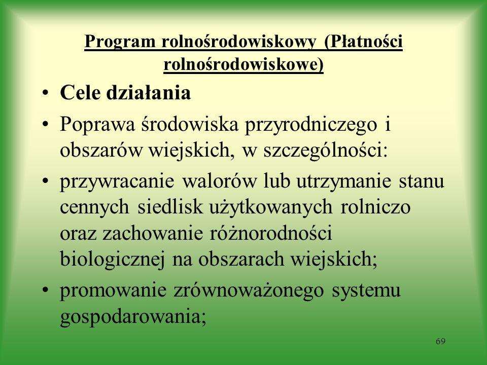 Program rolnośrodowiskowy (Płatności rolnośrodowiskowe) Cele działania Poprawa środowiska przyrodniczego i obszarów wiejskich, w szczególności: przywr