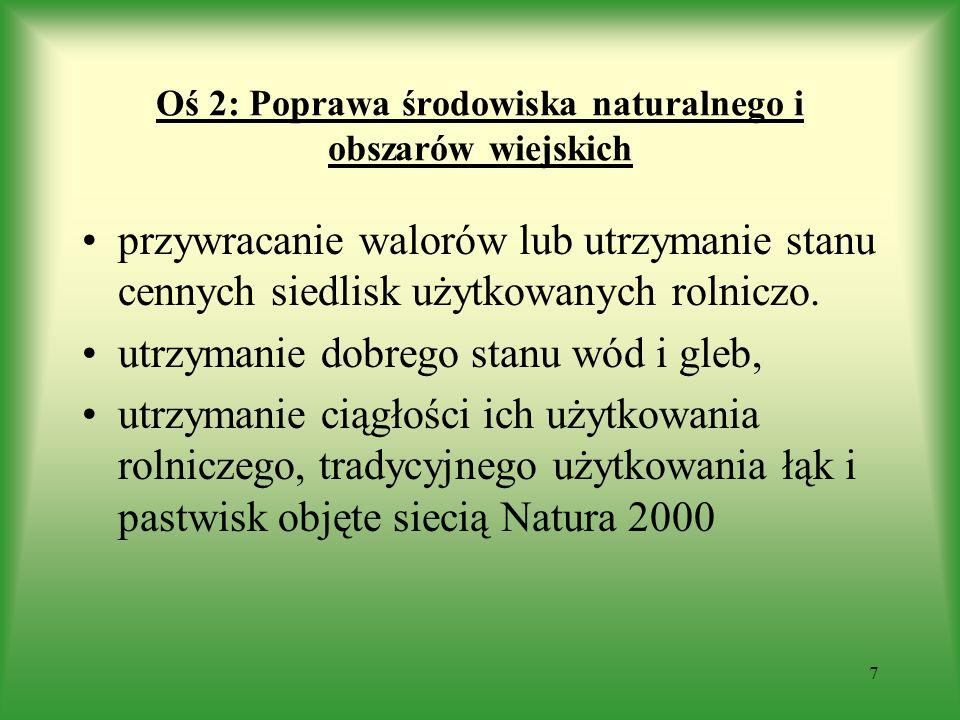 Oś 2: Poprawa środowiska naturalnego i obszarów wiejskich przywracanie walorów lub utrzymanie stanu cennych siedlisk użytkowanych rolniczo. utrzymanie