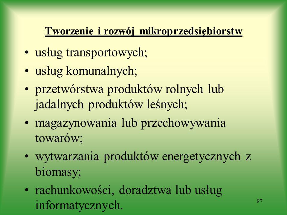 Tworzenie i rozwój mikroprzedsiębiorstw usług transportowych; usług komunalnych; przetwórstwa produktów rolnych lub jadalnych produktów leśnych; magaz
