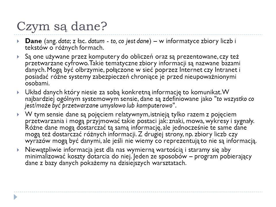 Czym są dane. Dane (ang. data; z łac.