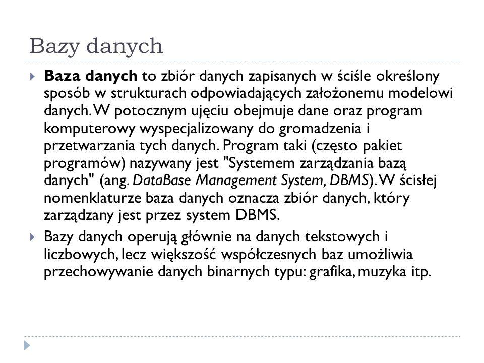 Bazy danych Baza danych to zbiór danych zapisanych w ściśle określony sposób w strukturach odpowiadających założonemu modelowi danych.